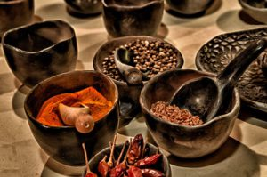 Spices in dishes