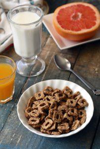 Fiber Cereal Grapefruit, Orange Juice, and Milk