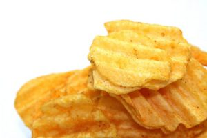 Close-up of ruffle chips