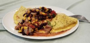 Green Onion Omelete with Black Bean Salsa